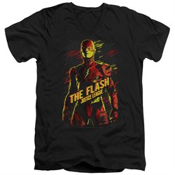 Justice League Movie Slim Fit V-Neck Shirt The Flash Black T-Shirt