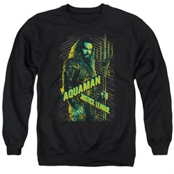 Image of Justice League Movie Sweatshirt Aquaman Adult Black Sweat Shirt