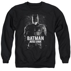 Image of Justice League Movie Sweatshirt Batman Profile Adult Black Sweat Shirt