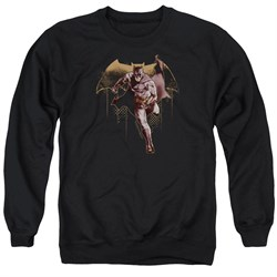 Justice League Movie Sweatshirt Caped Crusader Adult Black Sweat Shirt