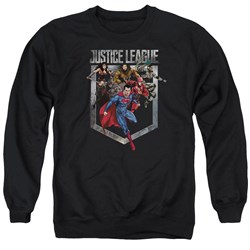 Justice League Movie Sweatshirt Charge Adult Black Sweat Shirt