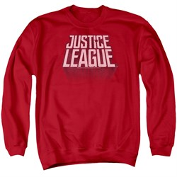 Justice League Movie Sweatshirt Distressed Logo Adult Red Sweat Shirt