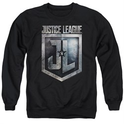 Justice League Movie Sweatshirt Shield Logo Adult Black Sweat Shirt