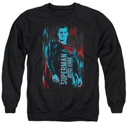 Justice League Movie Sweatshirt Superman Adult Black Sweat Shirt