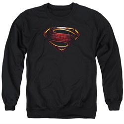 Justice League Movie Sweatshirt Superman Logo Adult Black Sweat Shirt