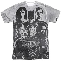 Image of Justice League Movie The League Black and White Sublimation Front/Back