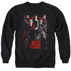 Image of Justice League Movie The League Red Glow Adult Black Sweatshirt