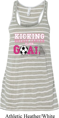 Image of Kicking Breast Cancer is Our Goal Ladies Flowy Racerback Tanktop