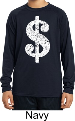 Image of Kids Funny Distressed Dollar Sign Dry Wicking Long Sleeve Tee T-Shirt