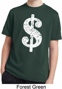 Image of Kids Funny Shirt Distressed Dollar Sign Moisture Wicking Tee T-Shirt