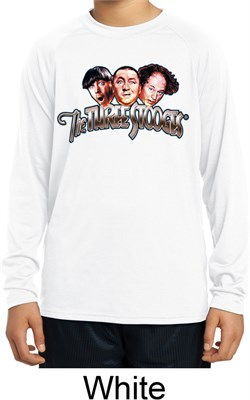 Image of Kids Three Stooges Shirt Stooges Faces White Dry Wicking Long Sleeve
