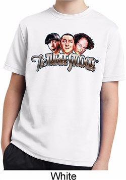 Image of Kids Three Stooges Shirt Stooges Faces White Moisture Wicking T-Shirt