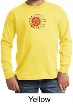 Kids Yoga Shirt Sleeping Sun Meditation Youth Long Sleeve Shirt