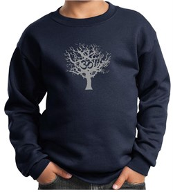 Kids Yoga Sweatshirt Grey Tree of Life Youth Sweat Shirt