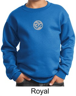 Image of Kids Yoga Sweatshirt Om Symbol Small Print Youth Sweat Shirt