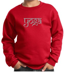 Image of Kids Yoga Sweatshirt Sanskrit Yoga Text Youth Sweat Shirt