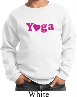 Image of Kids Yoga Sweatshirt Yoga Heart Neon Sweat Shirt