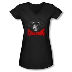 Image of King Kong Shirt Juniors V Neck Kong Face Black Tee T-Shirt