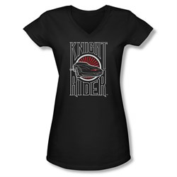 Image of Knight Rider Shirt Juniors V Neck Logo Black T-Shirt