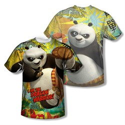 Image of Kung Fu Panda Dragon Warrior Sublimation Kids Shirt Front/Back Print
