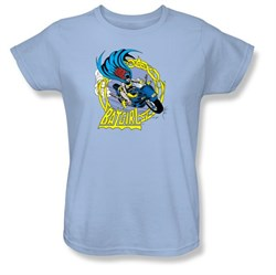 Batman Ladies T-Shirt - Batgirl Motorcycle Light Blue Tee