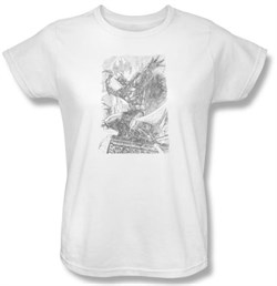 Image of Batman Ladies T-Shirt - Pencil Batarang Throw White Tee