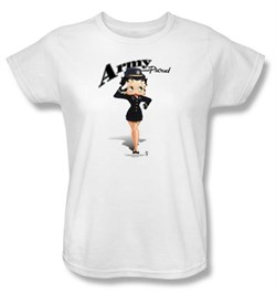 Image of Betty Boop Ladies T-shirt Army Boop White Tee Shirt