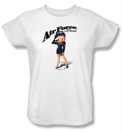 Image of Betty Boop Ladies T-shirt Air Force Boop White Tee Shirt