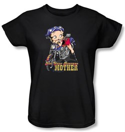 Image of Betty Boop Ladies T-shirt Not Your Average Mother Black Tee Shirt