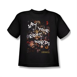 Image of Labyrinth Shirt Kids Right Words Black Youth Tee T-Shirt