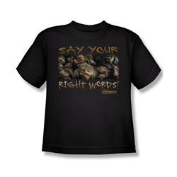 Image of Labyrinth Shirt Kids Say Your Right Words Black Youth Tee T-Shirt