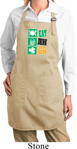 Image of Ladies Apron Eat Drink Be Irish Full Length Apron with Pockets