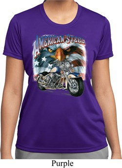 Image of Ladies Biker Shirt American Steel Moisture Wicking Tee T-Shirt