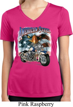 Image of Ladies Biker Shirt American Steel Moisture Wicking V-neck Tee T-Shirt