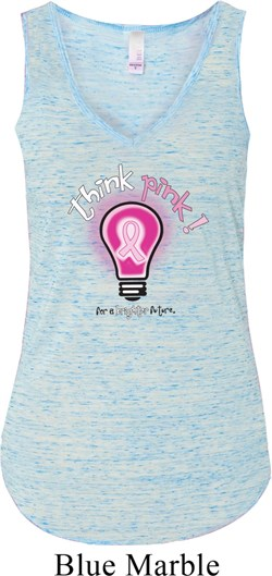 Image of Ladies Breast Cancer Awareness Tanktop Think Pink Flowy V-neck Tank