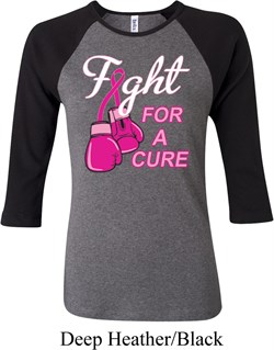 Image of Ladies Breast Cancer Shirt Fight For a Cure Raglan Tee T-Shirt