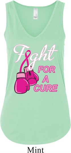 Image of Ladies Breast Cancer Tanktop Fight For a Cure Flowy V-neck Tank Top