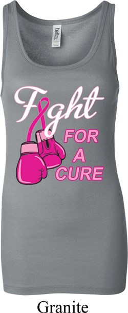 Image of Ladies Breast Cancer Tanktop Fight For a Cure Longer Length Tank Top