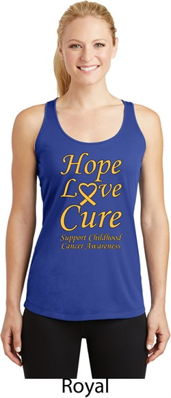 Image of Ladies Childhood Cancer Awareness Hope Love Cure Dry Wicking Racerback