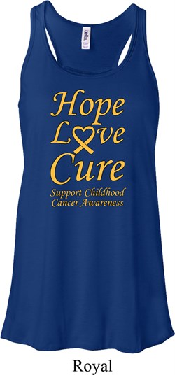 Image of Ladies Childhood Cancer Awareness Hope Love Cure Flowy Racerback