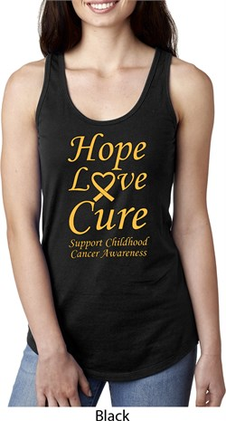 Image of Ladies Childhood Cancer Awareness Hope Love Cure Ideal Racerback