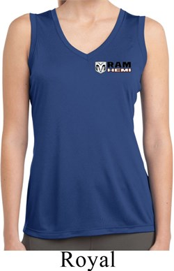 Image of Ladies Dodge Hemi Pocket Print Sleeveless Moisture Wicking Shirt