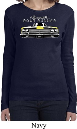 Image of Ladies Dodge Yellow Plymouth Roadrunner Long Sleeve Shirt