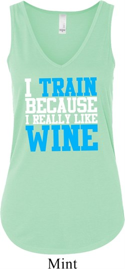 Image of Ladies Fitness Tanktop I Train For Wine Flowy V-neck Tank Top