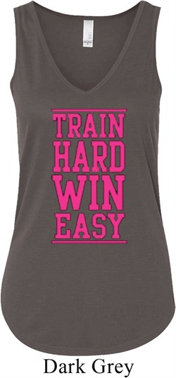 Image of Ladies Fitness Tanktop Train Hard Win Easy Flowy V-neck Tank Top