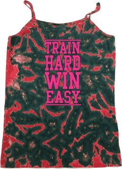 Ladies Fitness Tanktop Train Hard Win Easy Tie Dye Camisole Tank Top