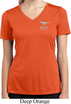 Image of Ladies Ford 50 Years Pocket Print Moisture Wicking V-neck Shirt