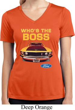 Image of Ladies Ford Shirt Mustang Who's The Boss Moisture Wicking V-neck Shirt