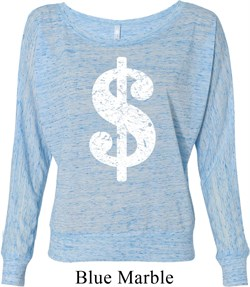 Image of Ladies Funny Shirt Distressed Dollar Sign Off Shoulder Tee T-Shirt
