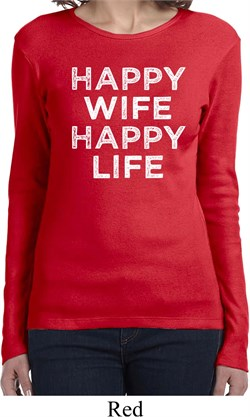 Image of Ladies Funny Shirt Happy Wife Happy Life Long Sleeve Tee